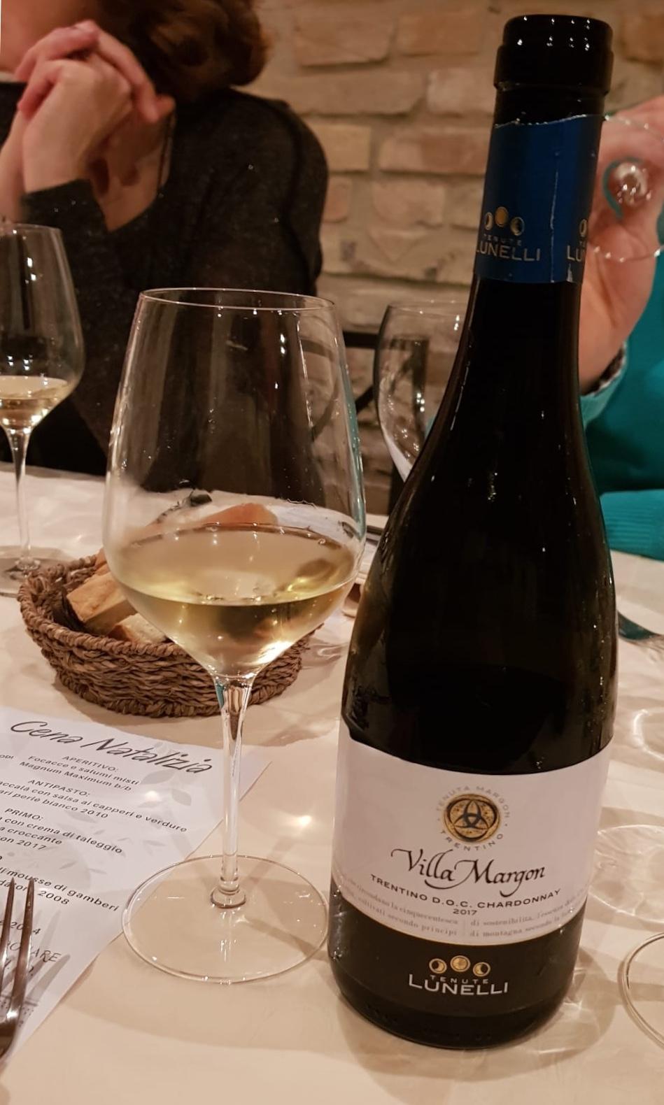 Villa Margon, cantine Lunelli, chardonnay, ricordo della mia cena di Natale ais 2019 con Ruben Larentis