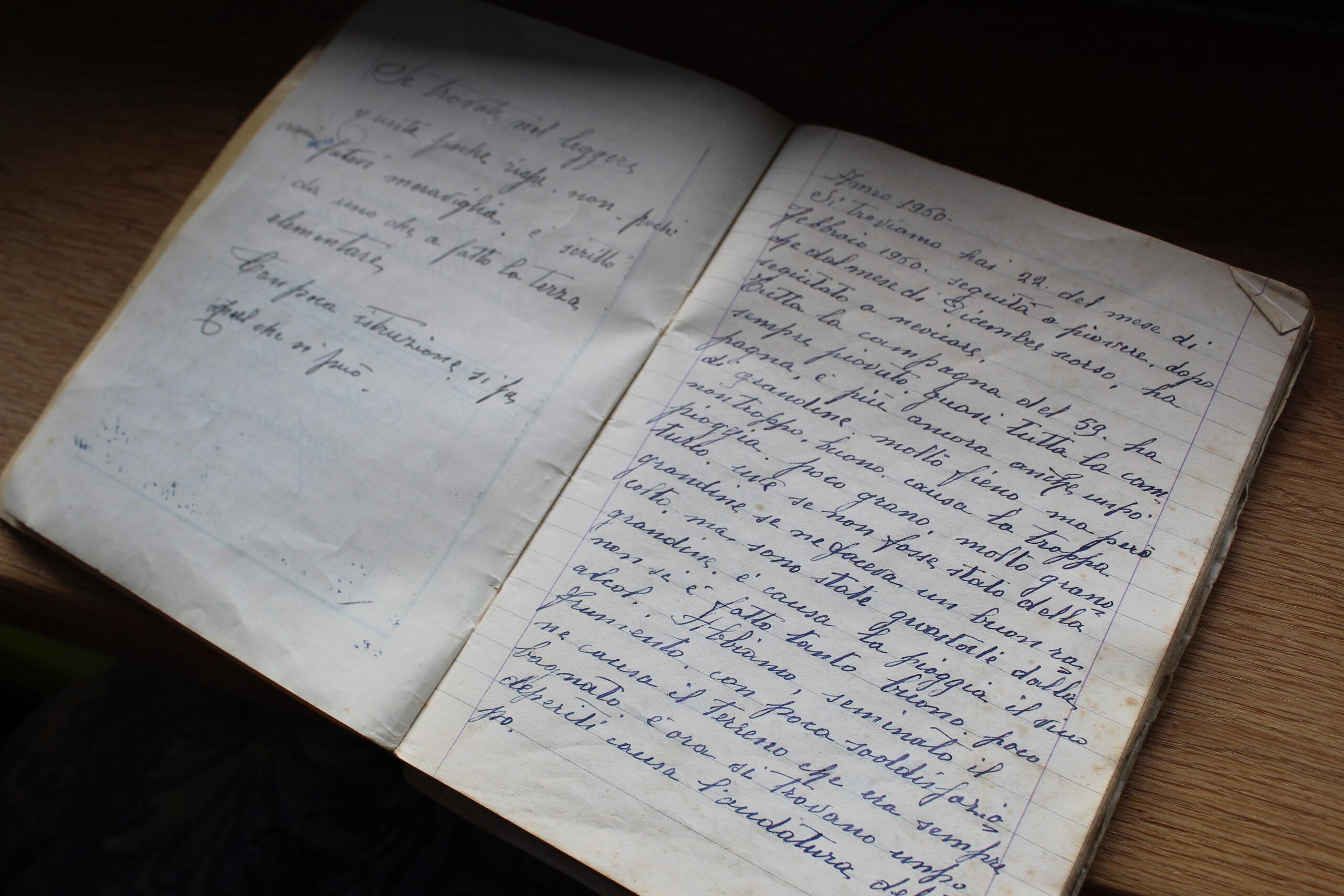 manoscritto del nonno di Francesco Rosso, in cui sono raccogli consigli su viti, come curarle, per ottenere un buon nebbiolo
