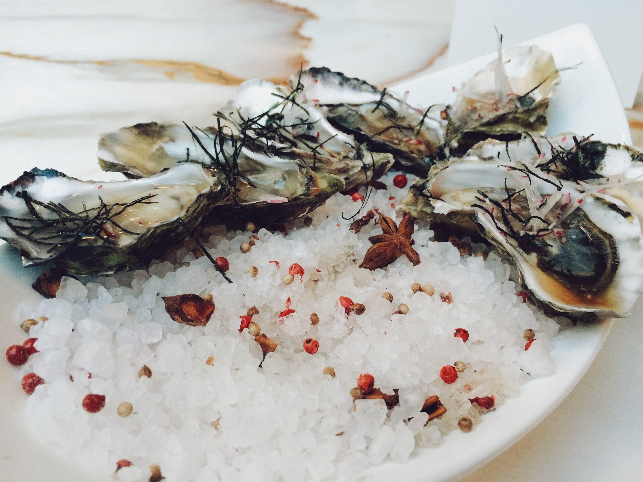 piatto di ostriche tra grani di pepe rosa